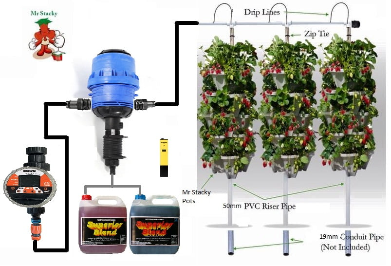 3 tower DIY hydroponic with nutrient injector