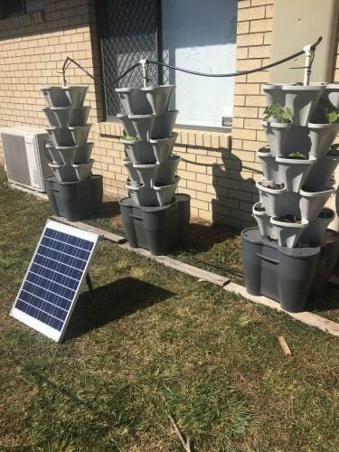 solar powered hydroponic 3 tower garden system mr stacky