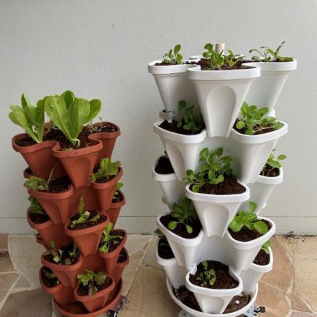 mr stacky 5 tier 20 plant stacking planter vertical gardens with trolleys