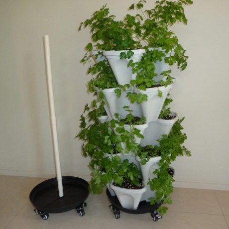 stone color vertical garden stacking planter mr stacky